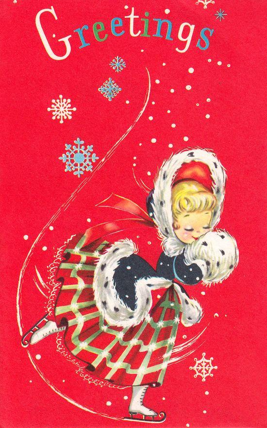 Skating girl retro Christmas card.