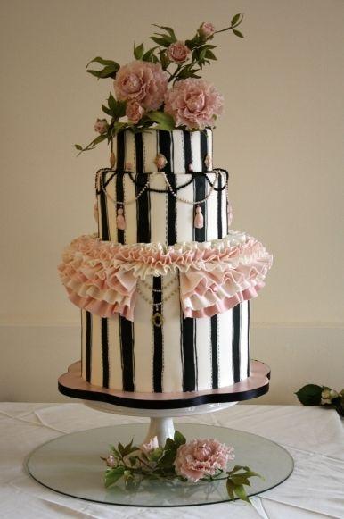 designer wedding cakes, pink and black wedding cake, peony wedding cake, striped wedding cake, jewelry cake.