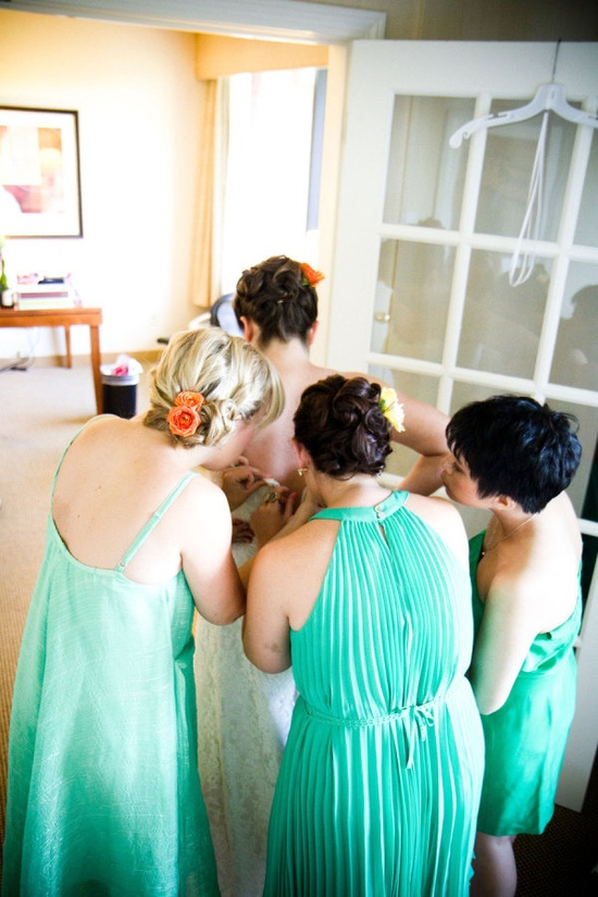 Pretty teal maids. Photography by hannahperssonphot...,