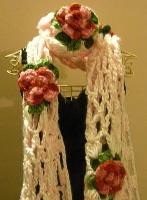 WARM and GORGEOUS HandMade Scarf - Crocheted w/ ROSES