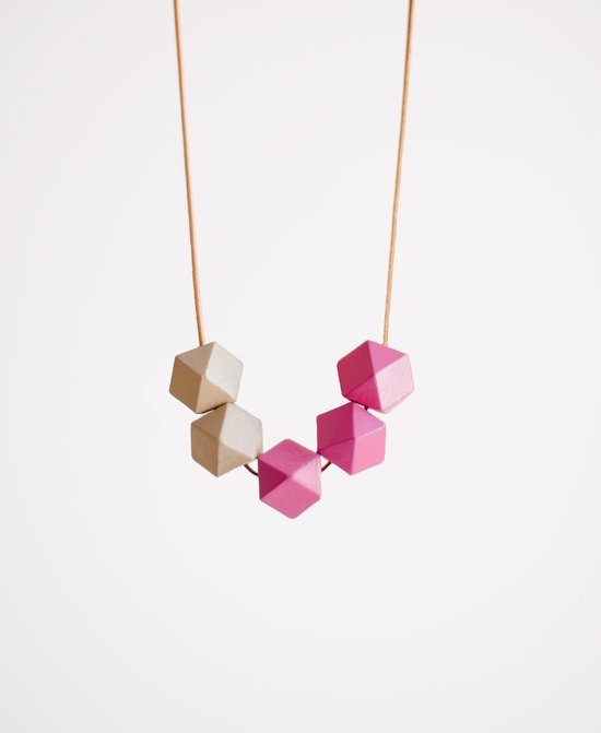 Geometric Necklace / Boho Necklace / Wooden Necklace/ Pink White Necklace. $20.00, via Etsy.