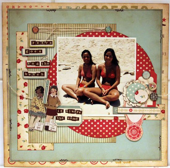 Vintage scrapbook layout. Beach scrapbooking. So cute.