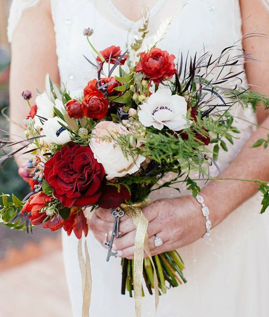 organic bouquet with red + white flowers