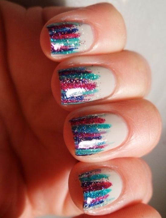 Love these colorful, sparkly tips! #nails