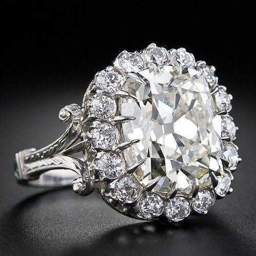 7 carat antique cushion cut diamond ring