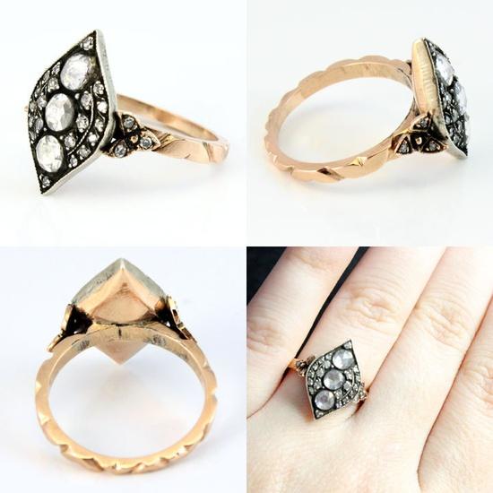 OH GEEZ. 14K Rose Gold Antique Silver Rose Cut Diamond Georgian Style 1930s Wedding Ring. $1,788.00, via Etsy.