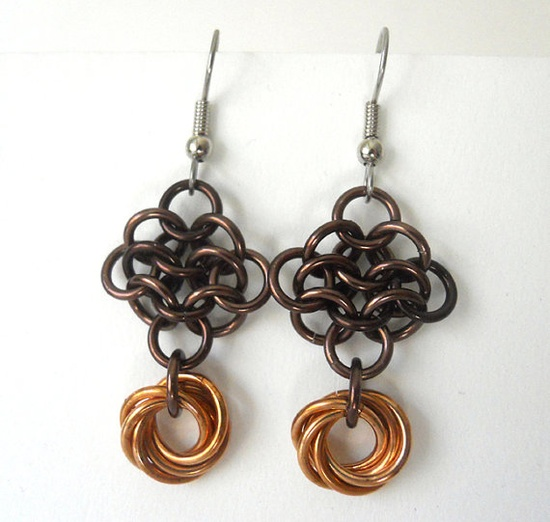 Chainmaille earrings Rosettes Bronze Autumn Earth tones