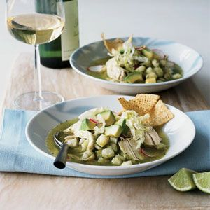 There are many variations on pozole, a traditional hominy-based Mexican stew closely associated with the Pacific-coast state of Guerrero. Anya von Bremzen's version, a green pozole, derives much of its flavor from tangy ingredients like tomatillos, cilantro, and green chiles.