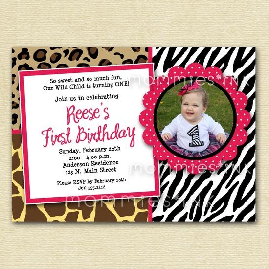 Wild Animal Print Custom Photo Birthday Invitation -  PRINTABLE INVITATION DESIGN. $12.00, via Etsy.