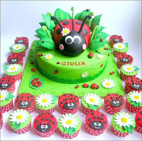 My ladybug cake and cupcakes