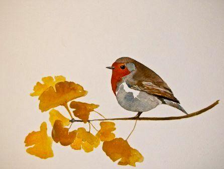 Robin Gingko Bird Watercolor Print