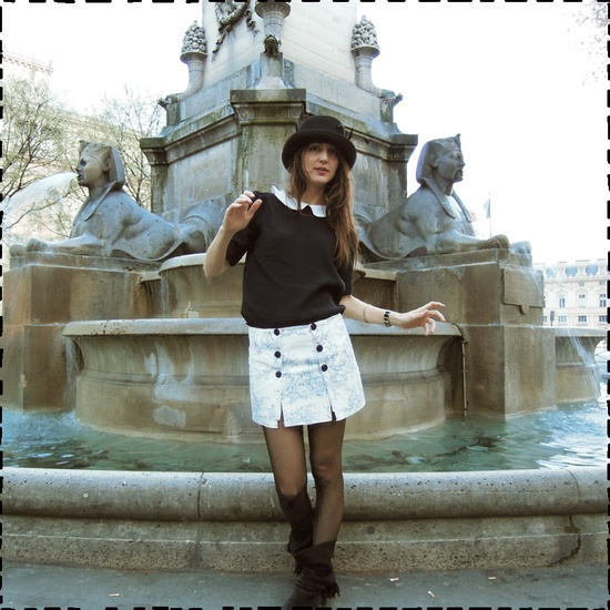 Place du Chatelet in Paris with my DIY skirt