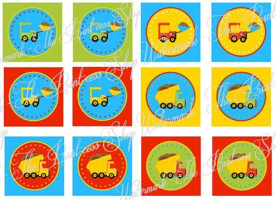 """Construction Truck & Dump Truck Party Ideas ~ Birthday Party Printable """"Party Circles"""" Decoration by ThePrintcessShop, $5.00"""