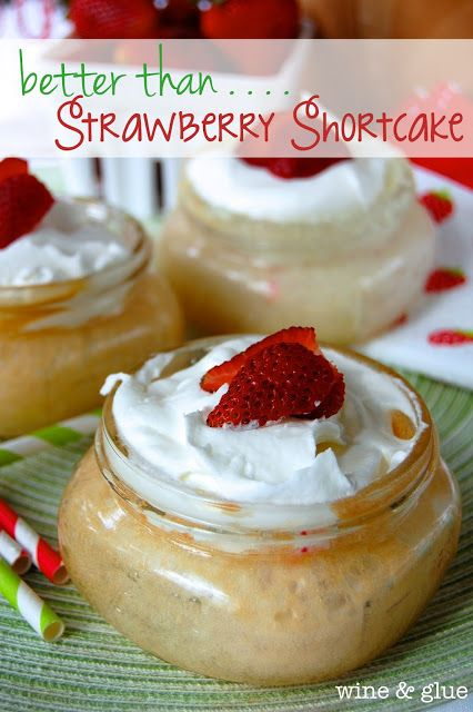 Strawberry Shortcake Poke Cake in Mason Jars!  Doesn't get cuter or tastier! via www.wineandglue.com
