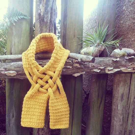 Scarf Knit Pattern Yellow Mustard  PDF ebook how to easy by bysol