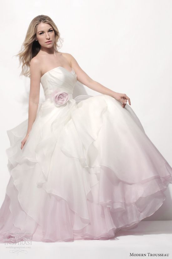 modern trousseau spring 2014 laurel ombre pink wedding dress strapless