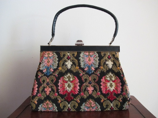1960s Carpet Handbag / 60s Purse / Vintage Carpet Purse. $27.00, via Etsy.