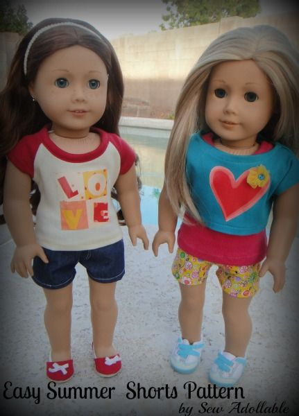 Free pattern - cute shorts pattern for american girl dolls