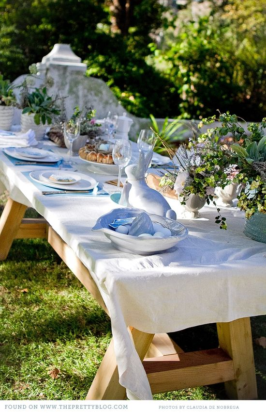 Beautiful picnic table decorated for Easter