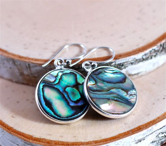 Colorful Abalone Earrings Round Iridescent Silver by amyfine
