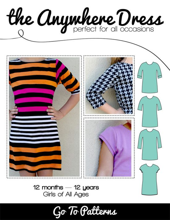 The Anywhere Dress - beginner knit sewing pattern for girls by Go To Patterns