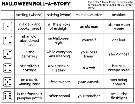 Halloween Roll-A-Story Writing Activity