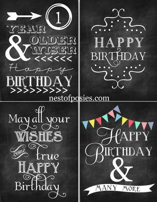 4 birthday chalkboard printables