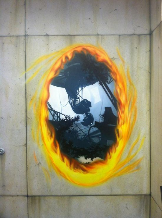 Airbrushed Portal mural in a Las Vegas office - the concrete wall is paint, too. AH-MAZING!