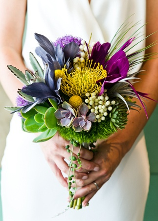 Modern, bright bridal bouquet // Photo: Cory Ryan Photography // Event Planner: Sarah K. Wolf // TheKnot.com