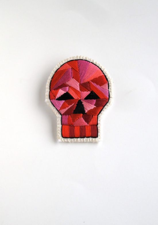 Skull brooch with geometric design embroidered by AnAstridEndeavor