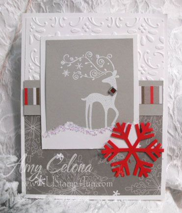 "Uses Stampin' Up!'s ""Dasher"" stamp. I love the color combo"