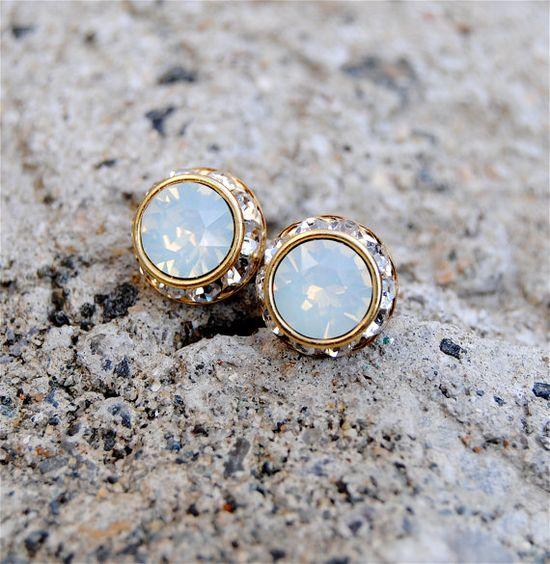 White Opal Earrings Small Gold or Silver Sugar by MASHUGANA