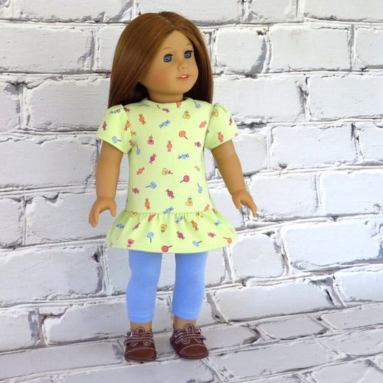 Sweets for the Sweet - American Girl Doll Clothes Tunic Top Dress and Leggings - reconstructed Gymboree