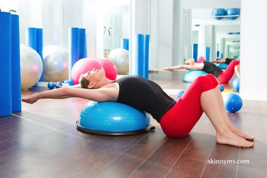 Get Fit with the Bosu Ball. You may have seen the Bosu at the gym but not sure what to do with it. I love this workout routine! It's only 12 minutes but extremely effective. Perform this workout 3-4 times weekly for optimal results. GET MOVING! #fitness #weightloss