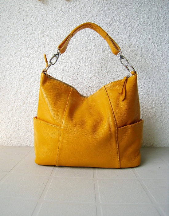 Yellow leather bag, come live with me.