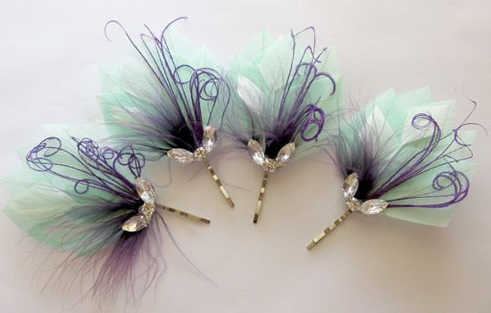 4 Wedding Hair Pieces  Bridesmaid Set Feather by parfaitplumes, $45.00 Weddings#Accessories#Hair#feather#headpiece#bridal#bridesmaid#peacock#featherhairclip#fascinator#bridalhair#bridesmaidhair#bridesmaidhairpins#1920s#hairclip#mint#purple# smallhairclip