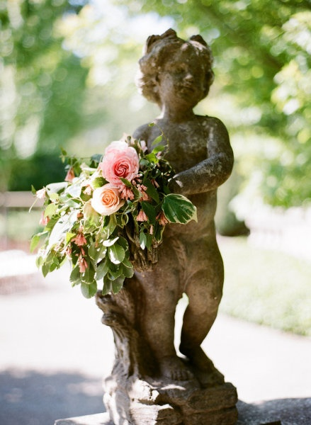 pretty statue with flowers