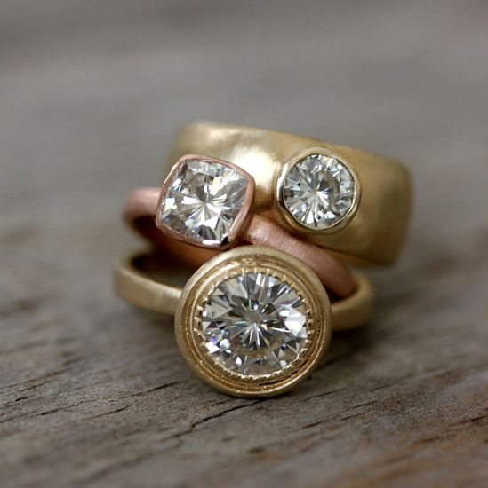 Moissanite and 14k Yellow Gold Engagement Ring by onegarnetgirl, $2,298.00 #engagement #ring