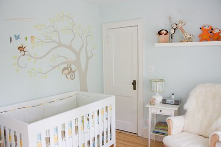 The soft blue in this room very soothing. #baby #nursery