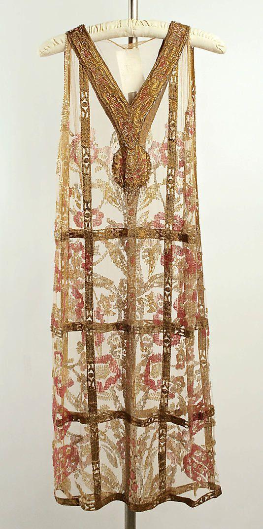 Evening Dress, Callot Soeurs ca 1924, French, cotton, metallic thread