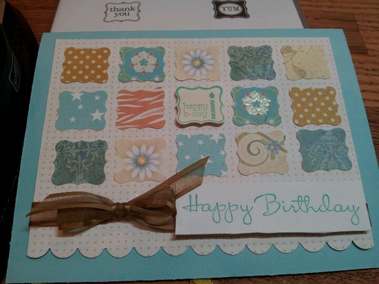 Stampin Up birthday card using new punch and Pretty Petites stamp set.......my new fav.