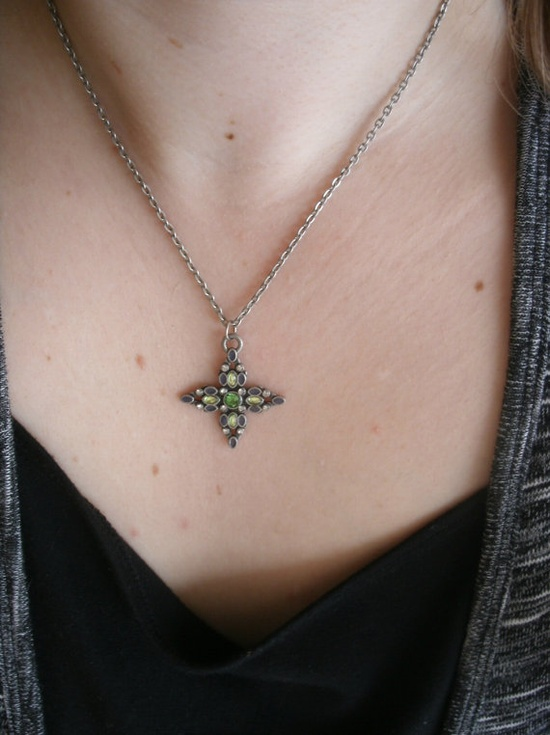 Rhinestone Cross Necklace,Green Rhinestones, Antique Silver Toned Metal Pendant and Chain #cross #metal #rhinestone #necklace #green #celtic #jewelry #pendant $10.00