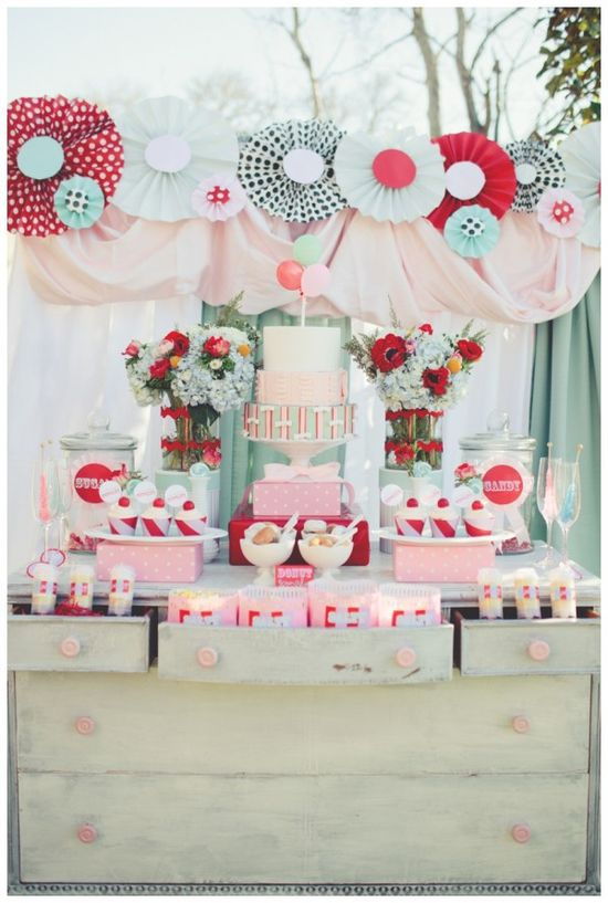 A great little girl birthday party candy bar.    Carnival Styled Shoot Wedding I