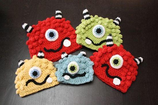 crochet hats monsters