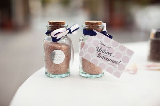 pink salt wedding favours
