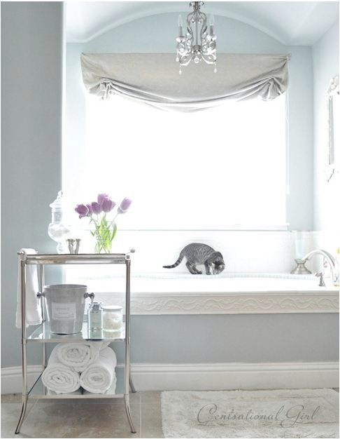 another amazing bathroom, in silver tones....bonus points, for the silvery cat :P