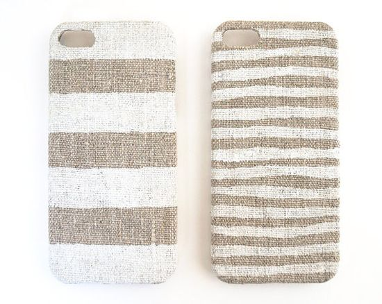 Iphone 4 case white stripes on unbleached natural linen