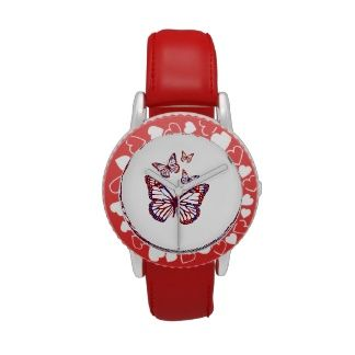cute kids red butterflies design watches