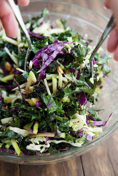 crunchy kale salad recipe...omit the oil