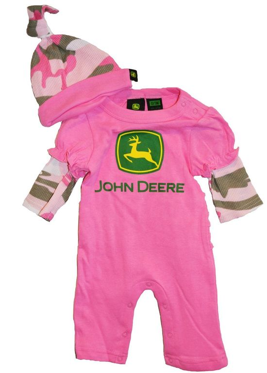 Vintage styles john deere baby clothes for girls pink camo